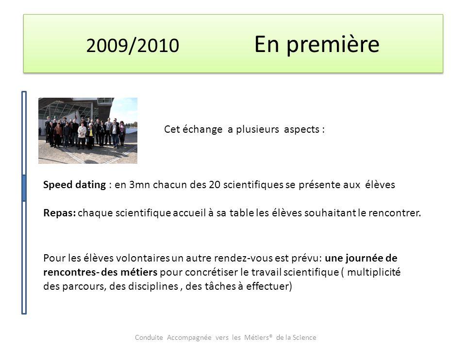 2009/2010 En première Cet échange a plusieurs aspects : Speed dating : en 3mn chacun des 20 scientifiques se présente aux élèves Repas: chaque scientifique accueil à sa table les élèves souhaitant le rencontrer.