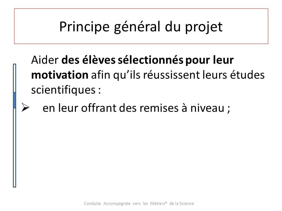 Principe général du projet Aider des élèves sélectionnés pour leur motivation afin qu'ils réussissent leurs études scientifiques :  en leur offrant des remises à niveau.