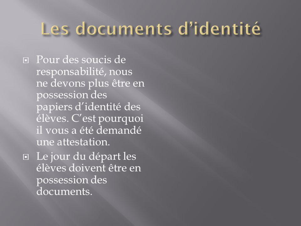 Pour des soucis de responsabilité, nous ne devons plus être en possession des papiers d'identité des élèves. C'est pourquoi il vous a été demandé un
