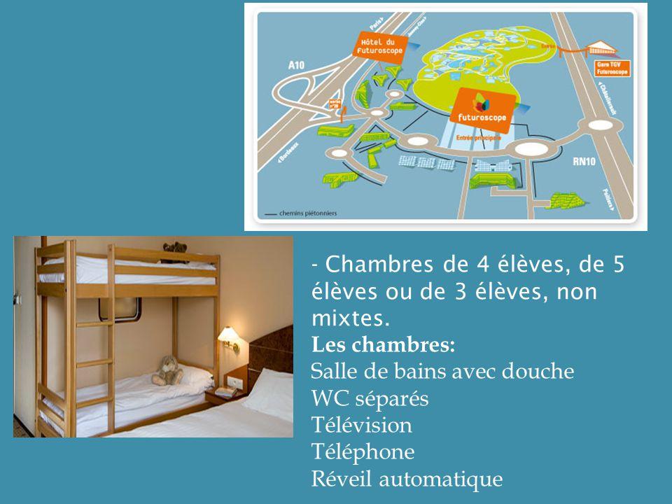 - Chambres de 4 élèves, de 5 élèves ou de 3 élèves, non mixtes. Les chambres: Salle de bains avec douche WC séparés Télévision Téléphone Réveil automa
