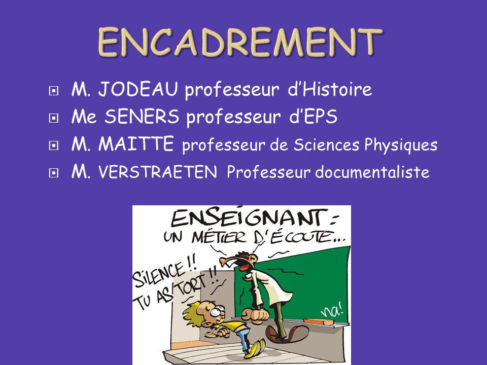  M. JODEAU professeur d'Histoire  Me SENERS professeur d'EPS  M. MAITTE professeur de Sciences Physiques  M. VERSTRAETEN Professeur documentaliste