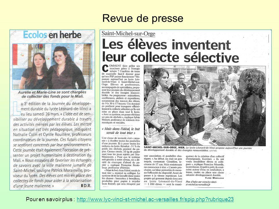 Revue de presse Pour en savoir plus : http://www.lyc-vinci-st-michel.ac-versailles.fr/spip.php?rubrique23http://www.lyc-vinci-st-michel.ac-versailles.fr/spip.php?rubrique23