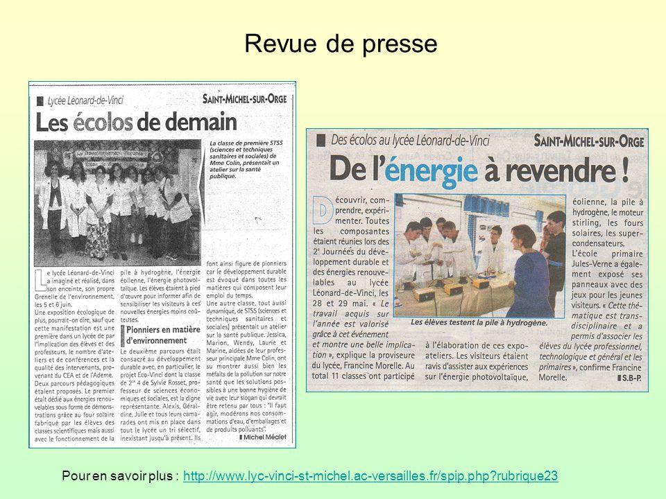 Revue de presse Pour en savoir plus : http://www.lyc-vinci-st-michel.ac-versailles.fr/spip.php?rubrique23http://www.lyc-vinci-st-michel.ac-versailles.