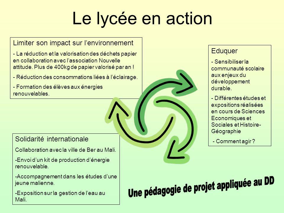 Le lycée en action Solidarité internationale Collaboration avec la ville de Ber au Mali. -Envoi d'un kit de production d'énergie renouvelable. -Accomp