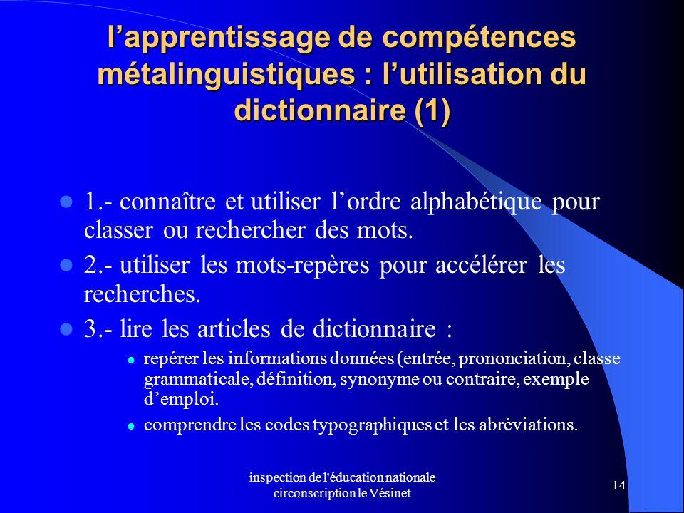 inspection de l'éducation nationale circonscription le Vésinet 14 l'apprentissage de compétences métalinguistiques : l'utilisation du dictionnaire (1)