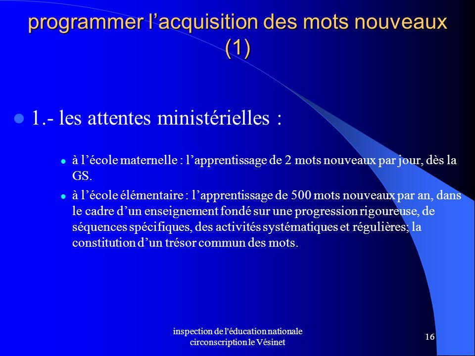 inspection de l'éducation nationale circonscription le Vésinet 16 programmer l'acquisition des mots nouveaux (1) 1.- les attentes ministérielles : à l