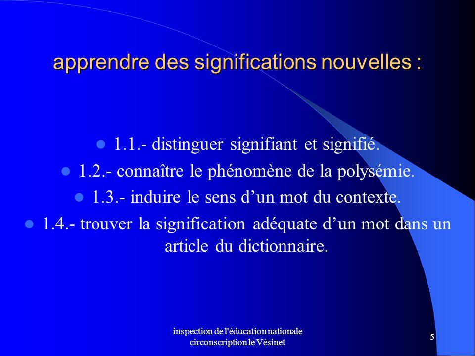 inspection de l'éducation nationale circonscription le Vésinet 5 apprendre des significations nouvelles : 1.1.- distinguer signifiant et signifié. 1.2