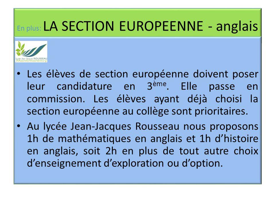 En plus: LA SECTION EUROPEENNE - anglais Les élèves de section européenne doivent poser leur candidature en 3 ème. Elle passe en commission. Les élève