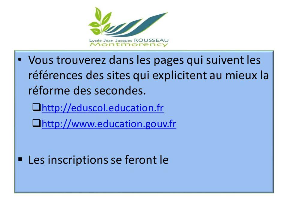 00 Vous trouverez dans les pages qui suivent les références des sites qui explicitent au mieux la réforme des secondes.  http://eduscol.education.fr