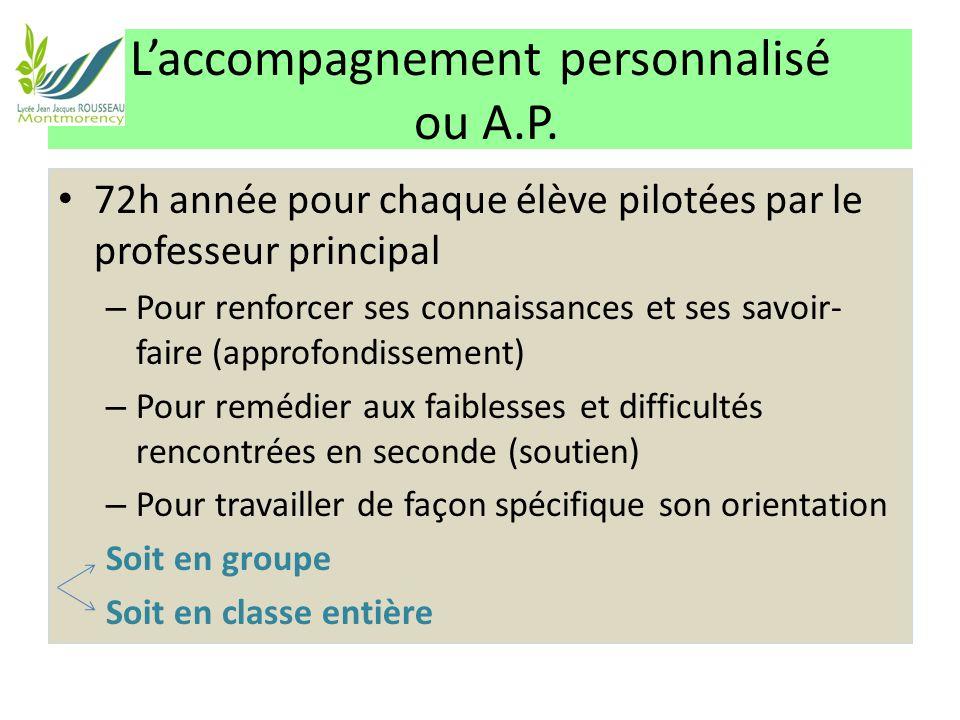 L'accompagnement personnalisé ou A.P. 72h année pour chaque élève pilotées par le professeur principal – Pour renforcer ses connaissances et ses savoi