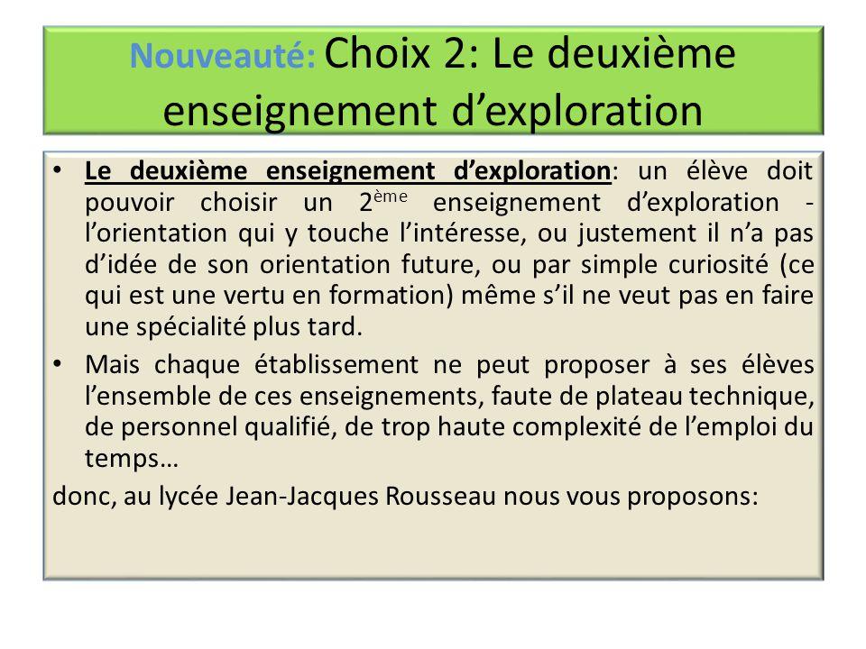 Nouveauté: Choix 2: Le deuxième enseignement d'exploration Le deuxième enseignement d'exploration: un élève doit pouvoir choisir un 2 ème enseignement