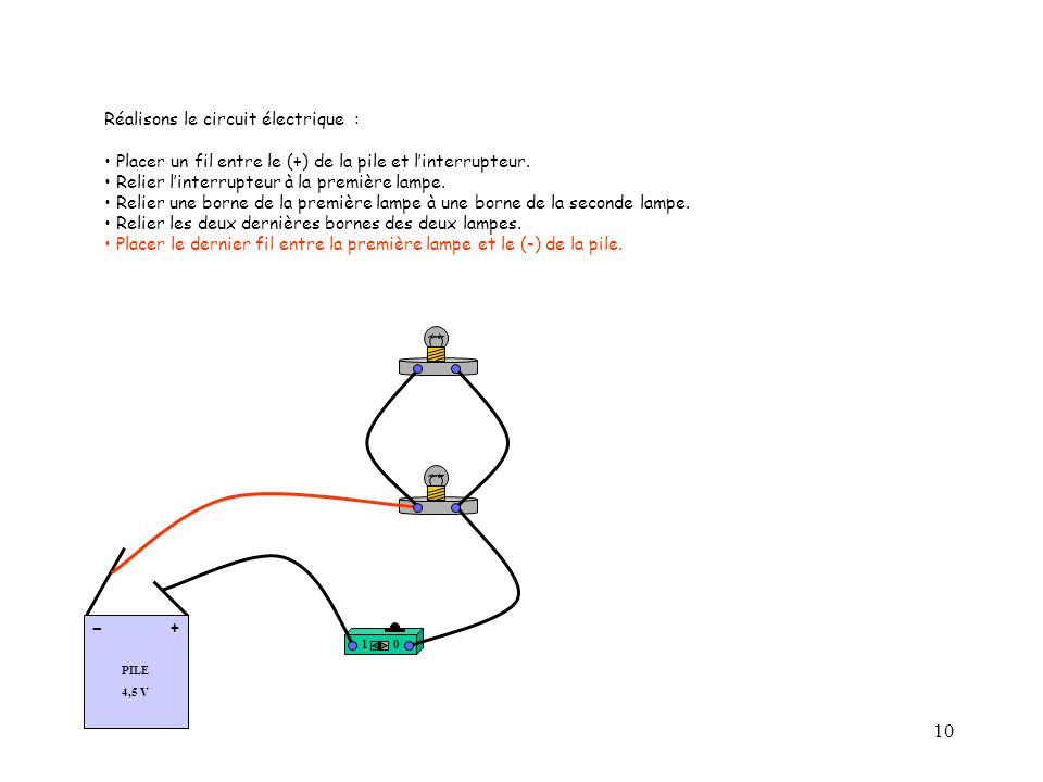 10 Réalisons le circuit électrique : Placer un fil entre le (+) de la pile et l'interrupteur.