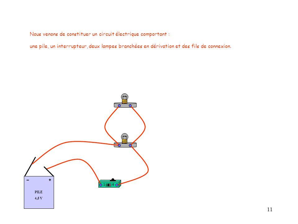 11 Nous venons de constituer un circuit électrique comportant : une pile, un interrupteur, deux lampes branchées en dérivation et des fils de connexion.