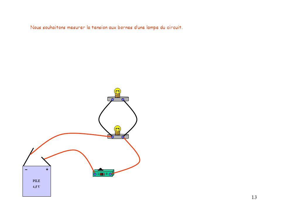 13 10 PILE 4,5 V + - Nous souhaitons mesurer la tension aux bornes d'une lampe du circuit.