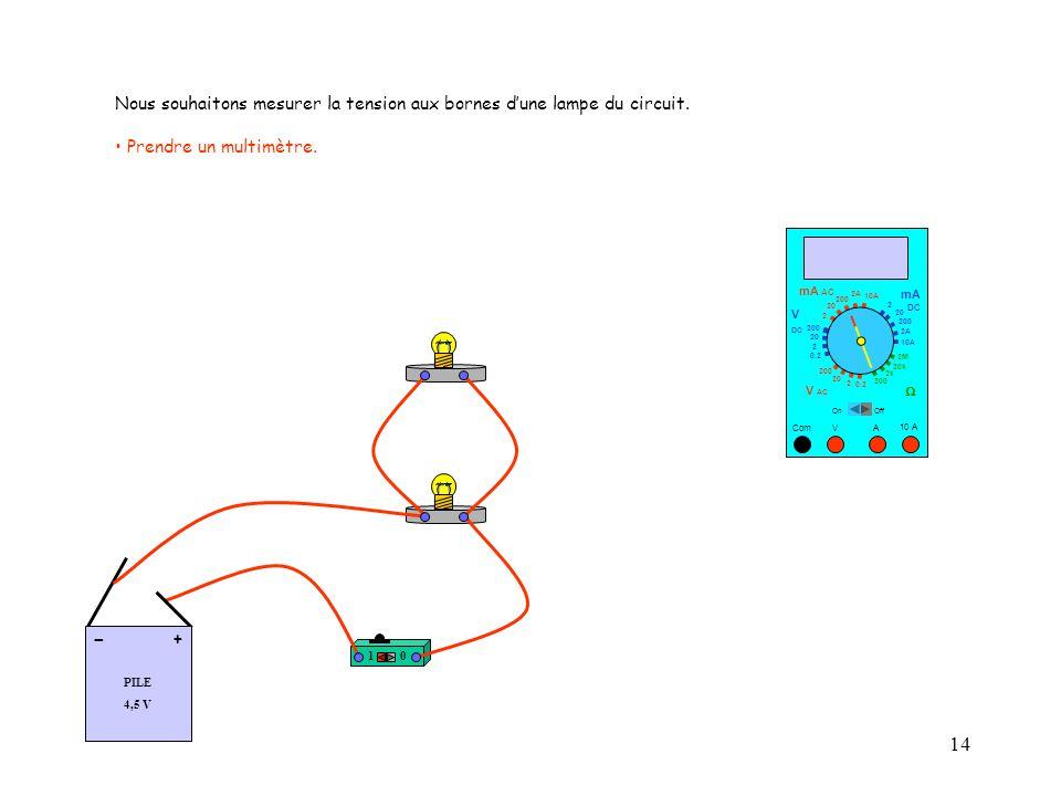 14 10 A Com mA DC A OffOn 10A 2A 200 20 V  2 V AC mA AC V DC 2M 20k 2k 200 0.2 2 200 20 2 0.2 2 20 200 10A 2A 200 20 10 PILE 4,5 V + - Nous souhaitons mesurer la tension aux bornes d'une lampe du circuit.
