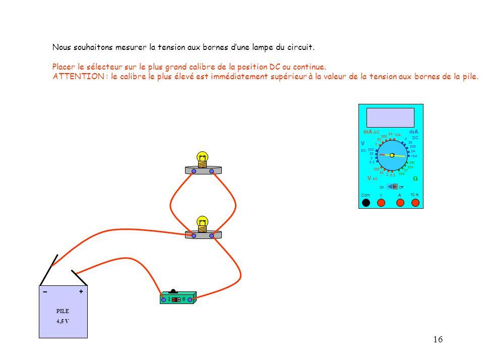 16 10 PILE 4,5 V + - 10 A Com mA DC A OffOn 10A 2A 200 20 V  2 V AC mA AC V DC 2M 20k 2k 200 0.2 2 200 20 2 0.2 2 20 200 Nous souhaitons mesurer la tension aux bornes d'une lampe du circuit.
