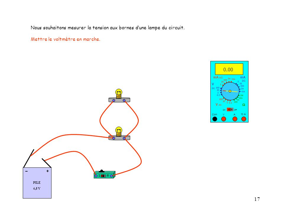 17 10 A Com mA DC A OffOn 10A 2A 200 20 V  2 V AC mA AC V DC 2M 20k 2k 200 0.2 2 200 20 2 0.2 2 20 200 10A 2A 200 20.