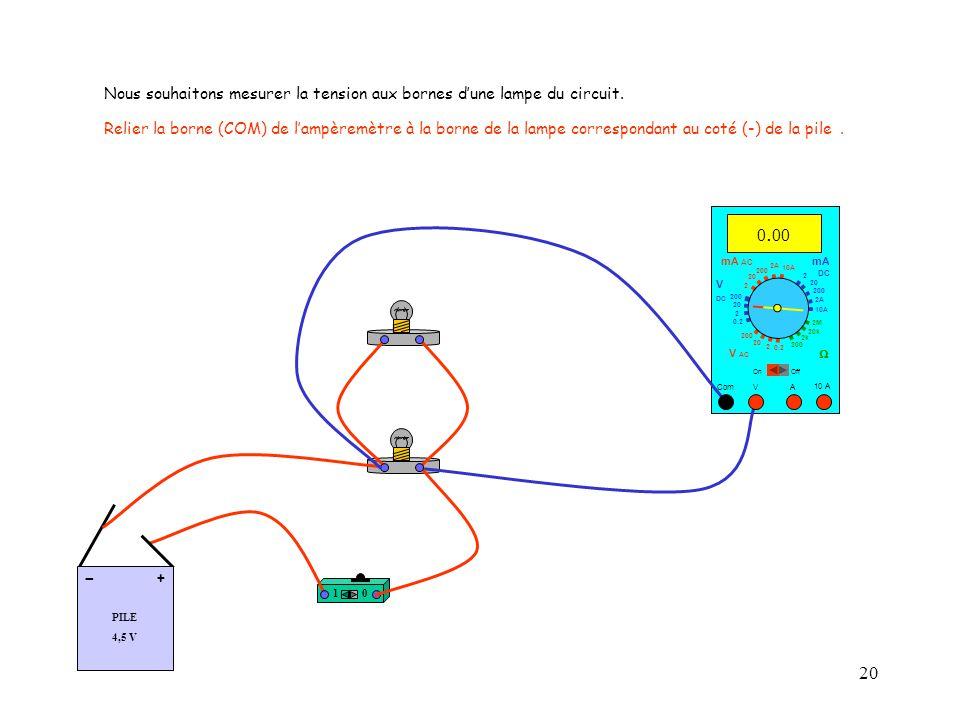 20 Nous souhaitons mesurer la tension aux bornes d'une lampe du circuit.