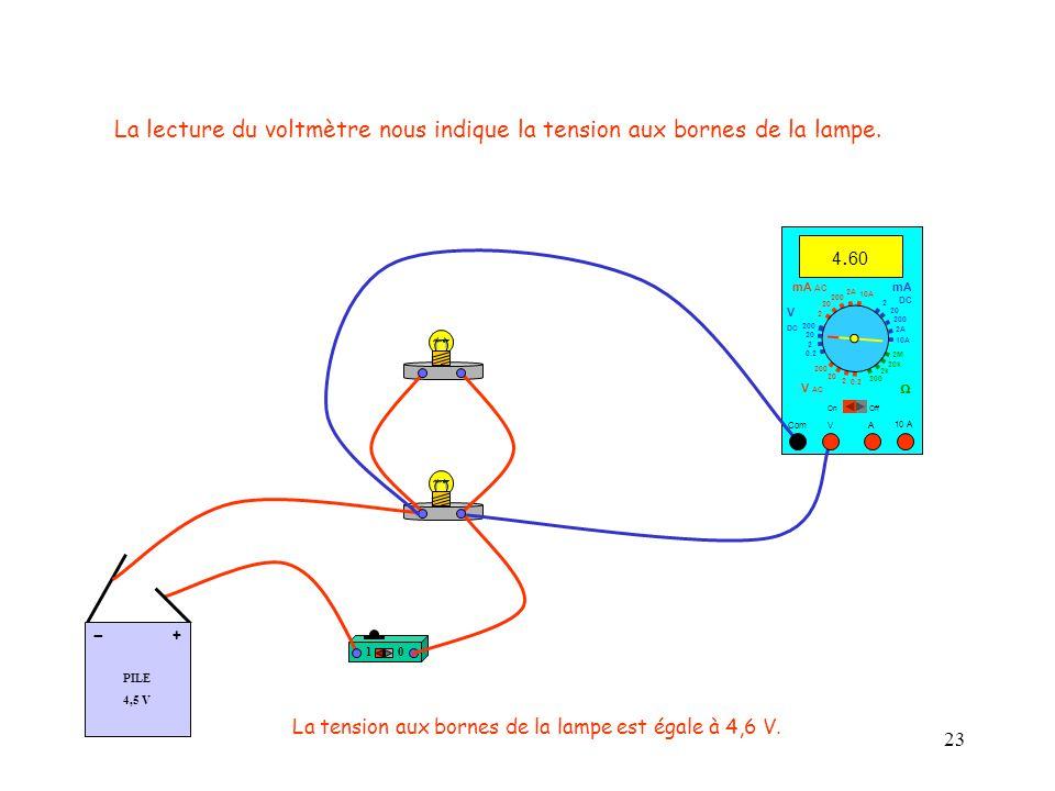 23 La lecture du voltmètre nous indique la tension aux bornes de la lampe.