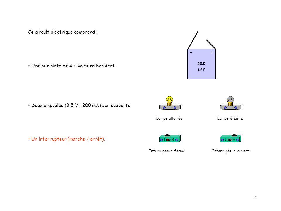 15 10 PILE 4,5 V + - Nous souhaitons mesurer la tension aux bornes d'une lampe du circuit.