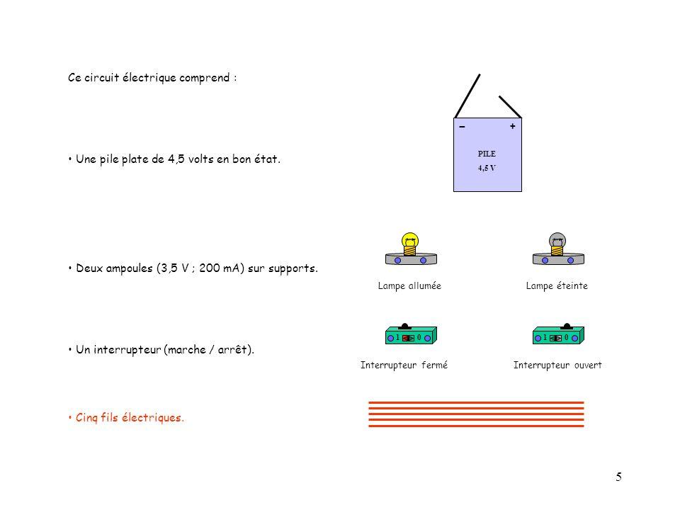 6 Réalisons le circuit électrique : Placer un fil entre le (+) de la pile et l'interrupteur.