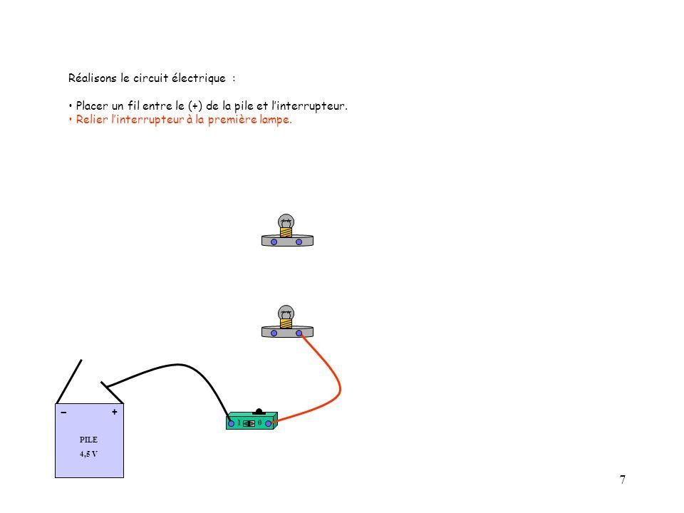 7 Réalisons le circuit électrique : Placer un fil entre le (+) de la pile et l'interrupteur.