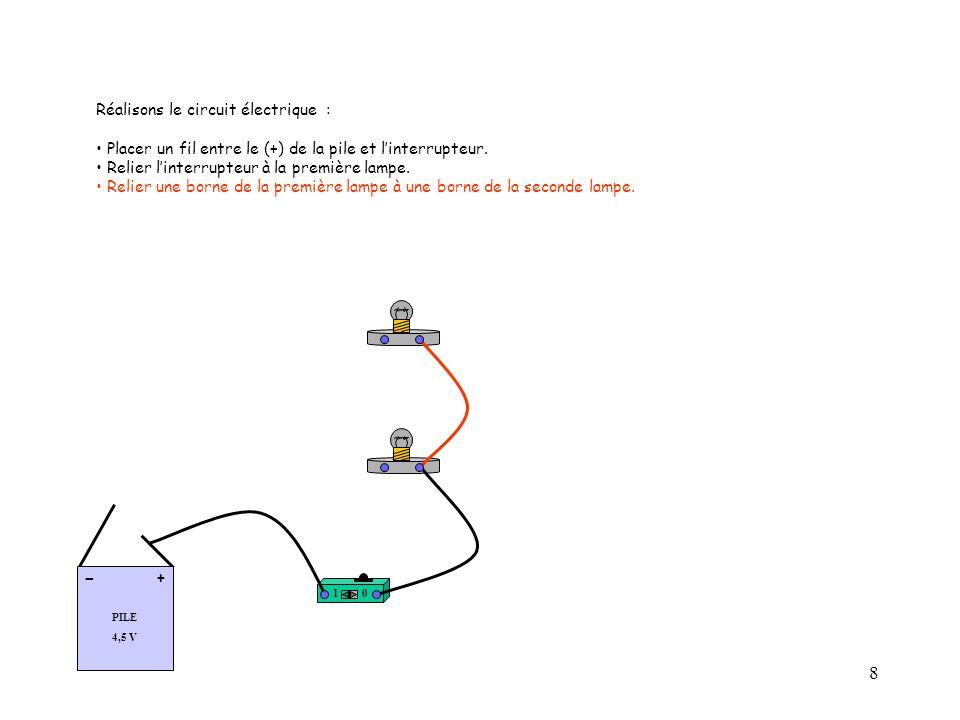 9 Réalisons le circuit électrique : Placer un fil entre le (+) de la pile et l'interrupteur.