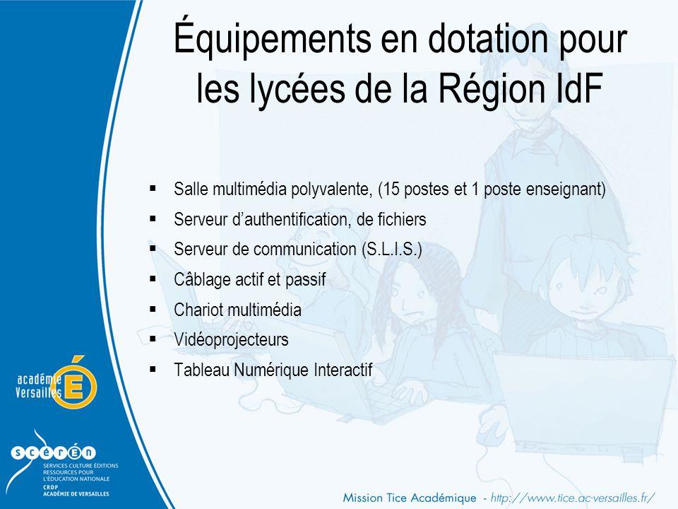 Équipements en dotation pour les lycées de la Région IdF  Salle multimédia polyvalente, (15 postes et 1 poste enseignant)  Serveur d'authentificatio