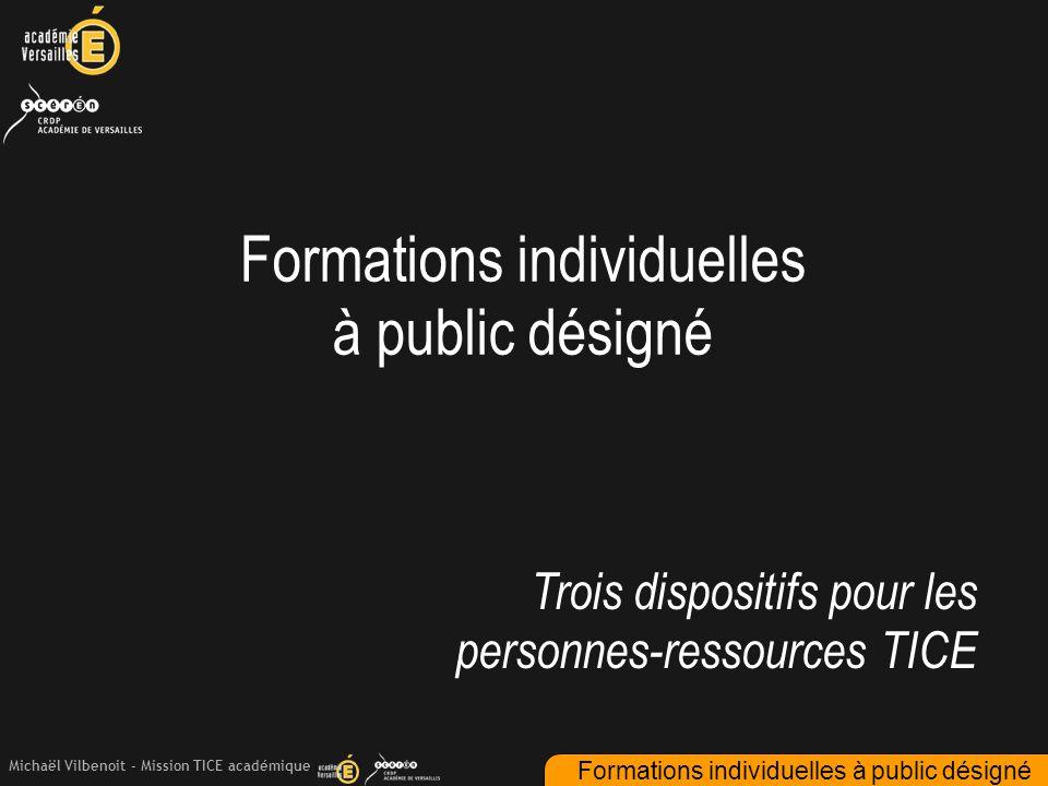 Michaël Vilbenoit - Mission TICE académique Formations individuelles à public désigné Trois dispositifs pour les personnes-ressources TICE Formations