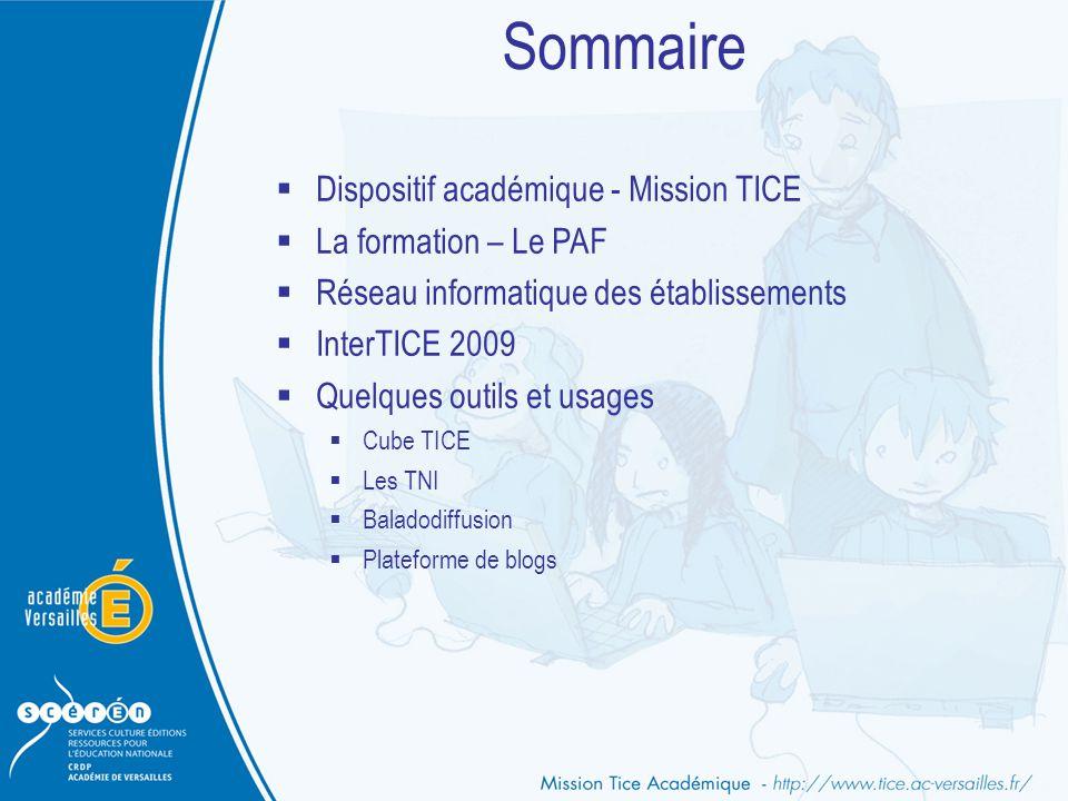 Sommaire  Dispositif académique - Mission TICE  La formation – Le PAF  Réseau informatique des établissements  InterTICE 2009  Quelques outils et