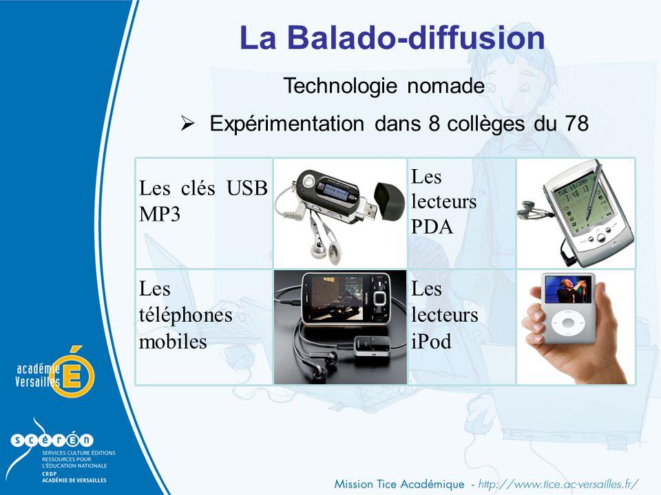 La Balado-diffusion Les clés USB MP3 Les lecteurs PDA Les téléphones mobiles Les lecteurs iPod Technologie nomade  Expérimentation dans 8 collèges du