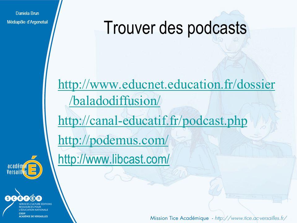Daniela Brun Médiapôle d'Argenetuil Trouver des podcasts http://www.educnet.education.fr/dossier /baladodiffusion/ http://canal-educatif.fr/podcast.ph