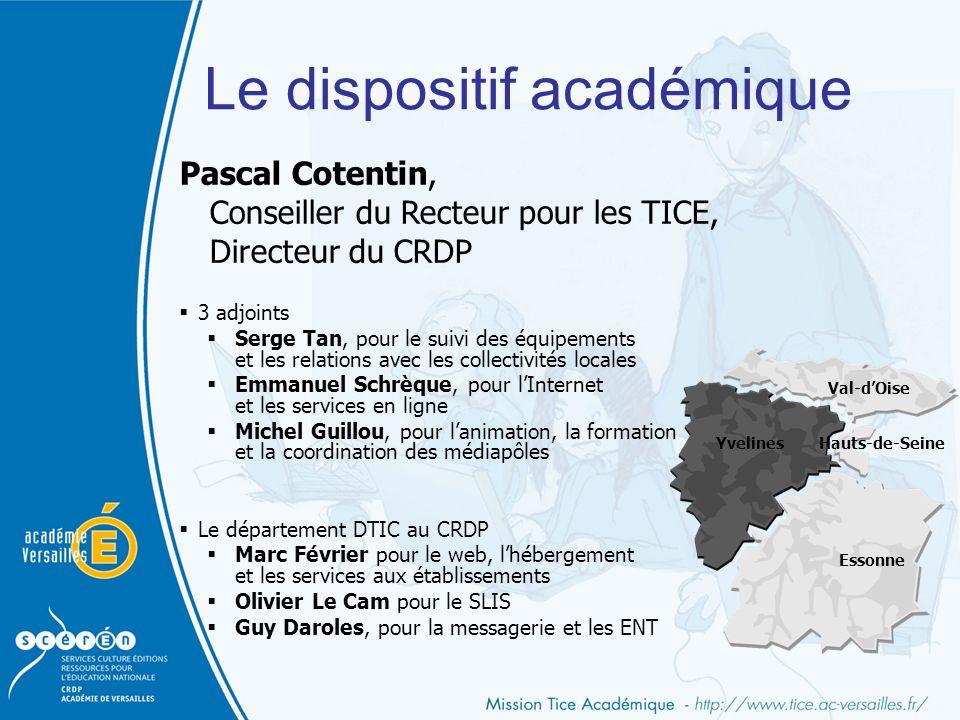 Le dispositif académique Pascal Cotentin, Conseiller du Recteur pour les TICE, Directeur du CRDP  3 adjoints  Serge Tan, pour le suivi des équipemen