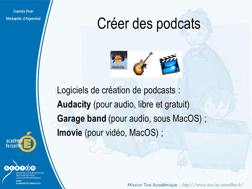 Daniela Brun Médiapôle d'Argenetuil Créer des podcats Logiciels de création de podcasts : Audacity (pour audio, libre et gratuit) Garage band (pour au