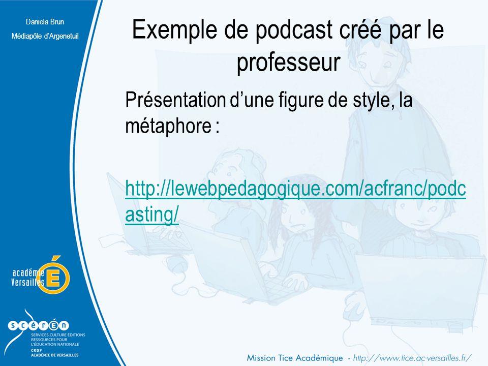 Daniela Brun Médiapôle d'Argenetuil Exemple de podcast créé par le professeur Présentation d'une figure de style, la métaphore : http://lewebpedagogiq