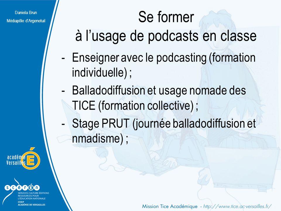 Daniela Brun Médiapôle d'Argenetuil Se former à l'usage de podcasts en classe -Enseigner avec le podcasting (formation individuelle) ; -Balladodiffusi