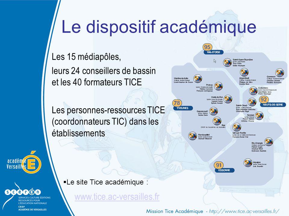 Les 15 médiapôles, leurs 24 conseillers de bassin et les 40 formateurs TICE Les personnes-ressources TICE (coordonnateurs TIC) dans les établissements