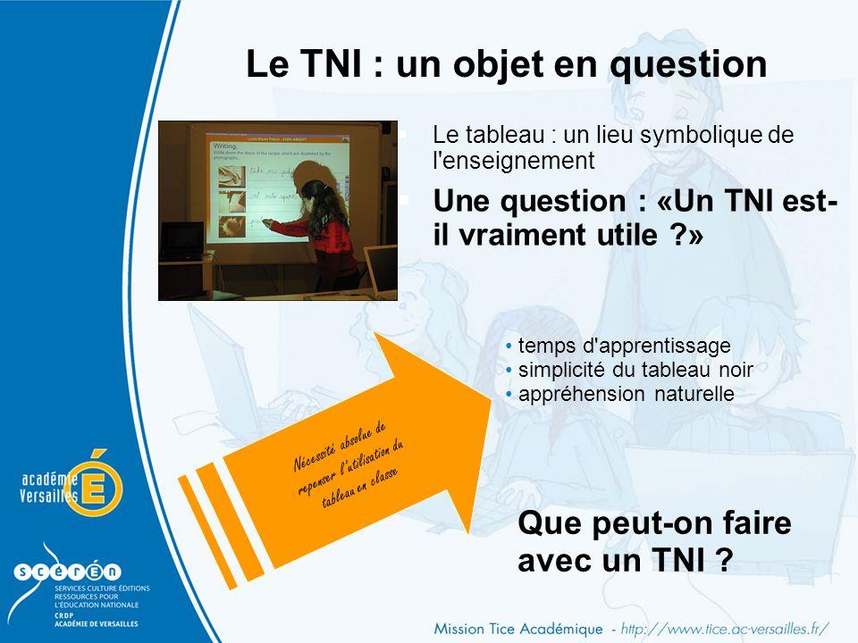 Le TNI : un objet en question  Le tableau : un lieu symbolique de l'enseignement  Une question : «Un TNI est- il vraiment utile ?» Nécessité absolue