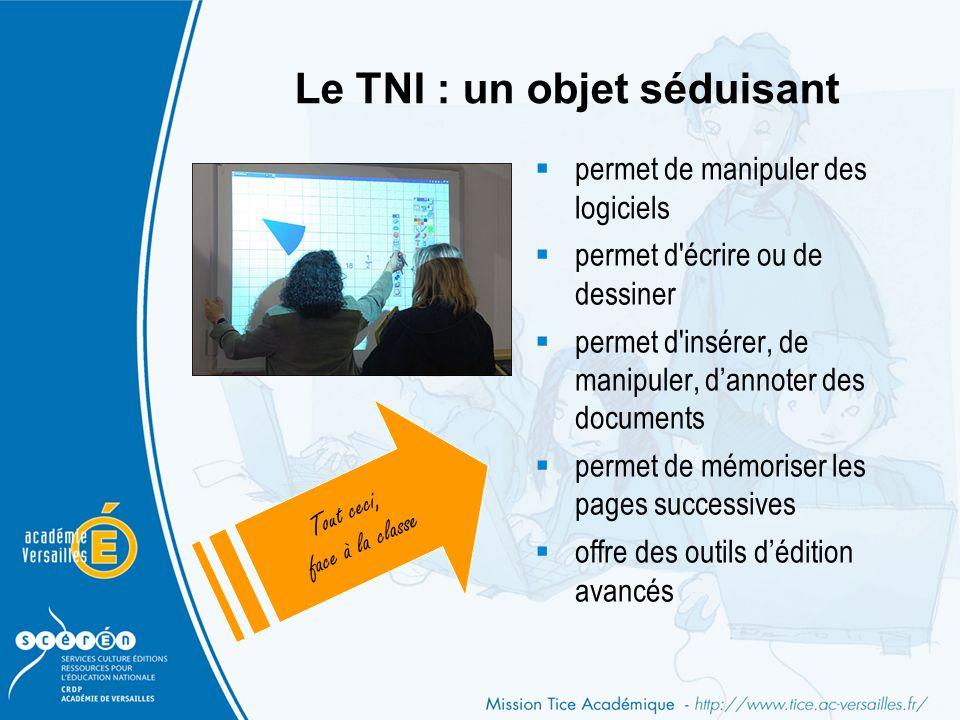 Le TNI : un objet séduisant  permet de manipuler des logiciels  permet d'écrire ou de dessiner  permet d'insérer, de manipuler, d'annoter des docum