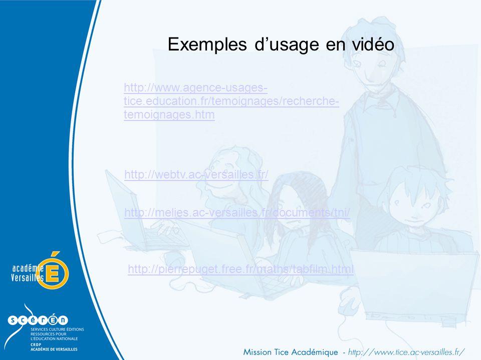 Exemples d'usage en vidéo http://melies.ac-versailles.fr/documents/tni/ http://webtv.ac-versailles.fr/ http://pierrepuget.free.fr/maths/tabfilm.html h