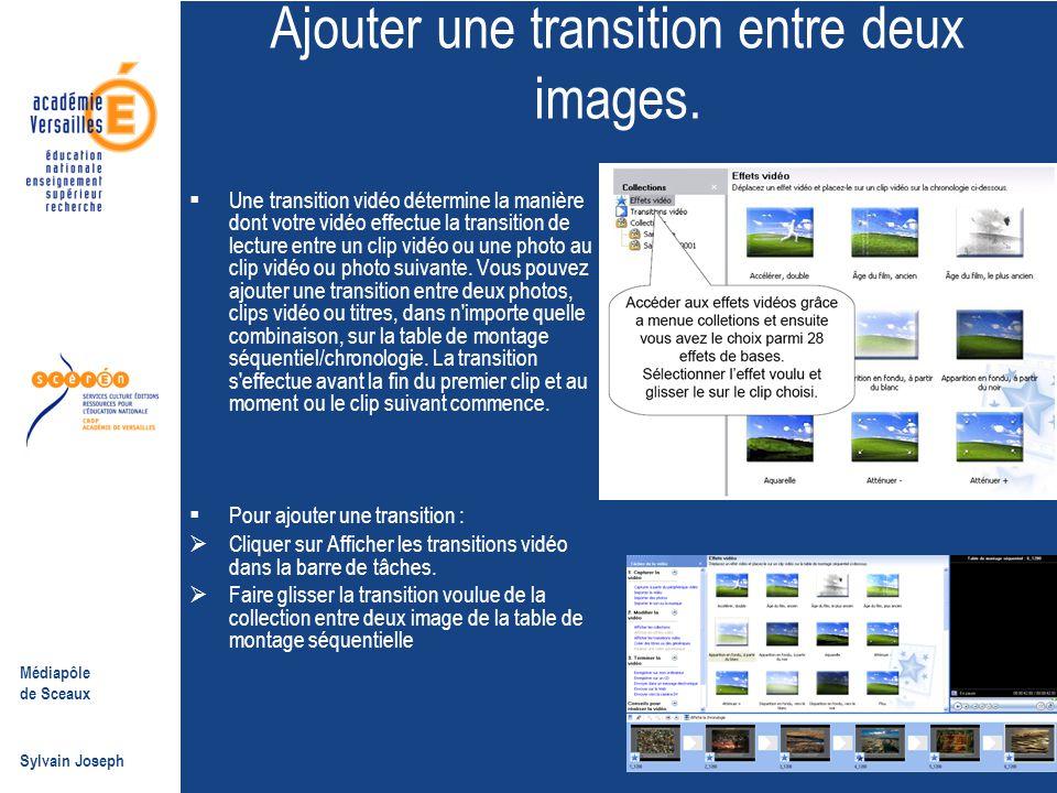 Médiapôle de Sceaux Sylvain Joseph Ajouter une transition entre deux images.  Une transition vidéo détermine la manière dont votre vidéo effectue la