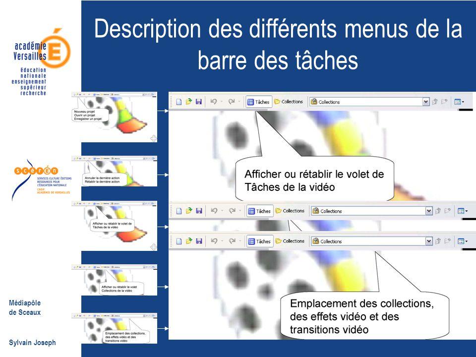 Médiapôle de Sceaux Sylvain Joseph Description des différents menus de la barre des tâches