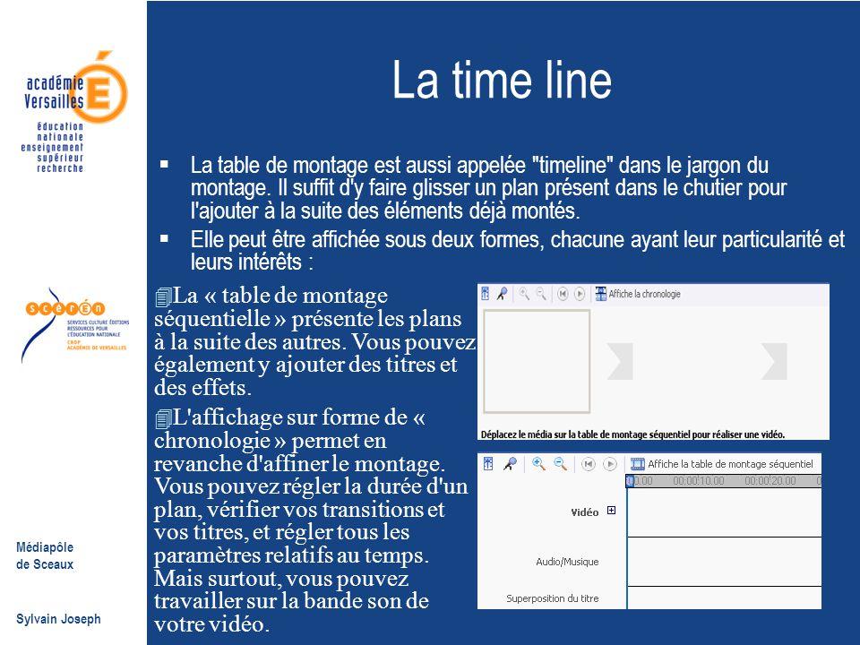 Médiapôle de Sceaux Sylvain Joseph La time line  La table de montage est aussi appelée