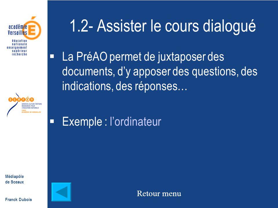 Médiapôle de Sceaux Franck Dubois Fin de l'exemple  Intérêt : - Expliquer des phénomènes complexes  Défauts : ça lasse, autant qu un cours magistral.