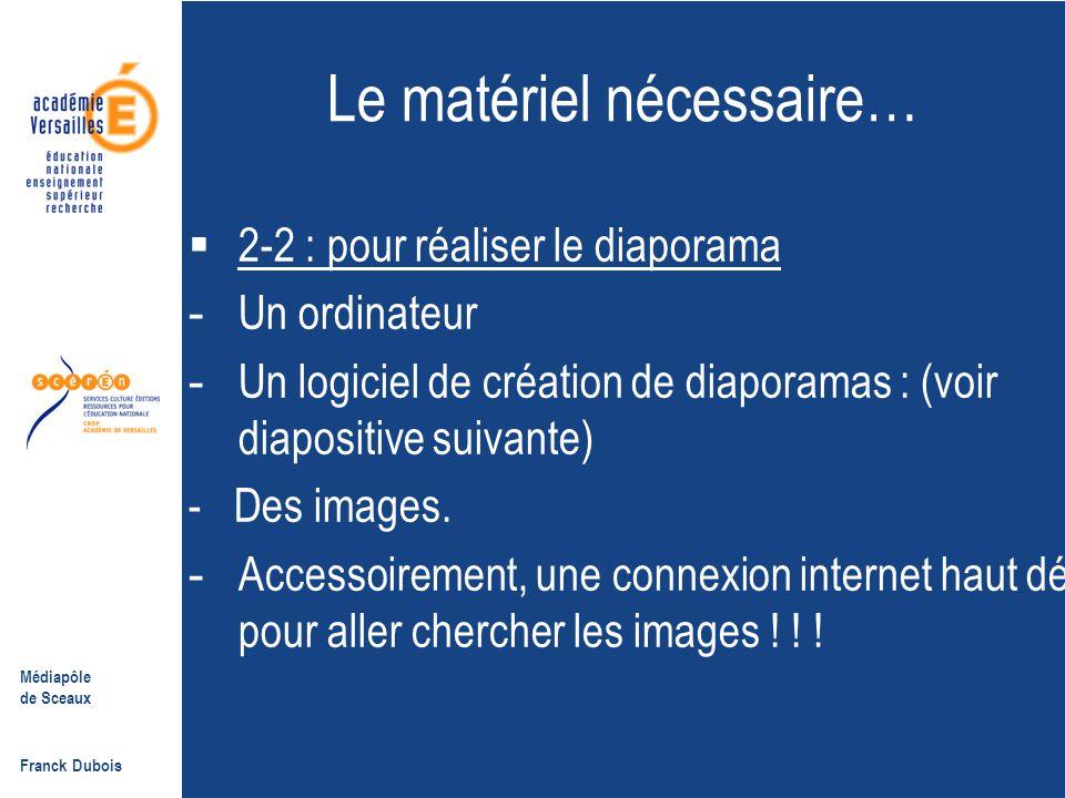 Médiapôle de Sceaux Franck Dubois II- Le matériel nécessaire 2.1- Pour projeter un diaporama  Un ordinateur relié à une télé + convertisseur télé, ou à un videoprojecteur.
