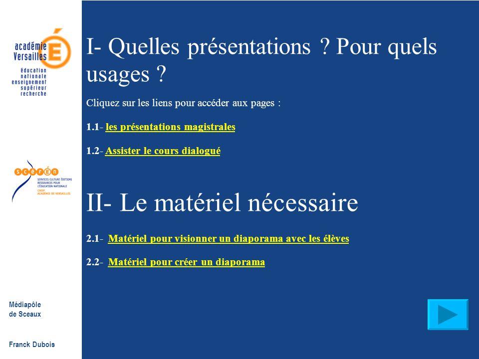 Médiapôle de Sceaux Franck Dubois La Présentation assistée par ordinateur PAO, PréAO, diaporama, powerpoint…Qu'est-ce que c'est ? - des animations de