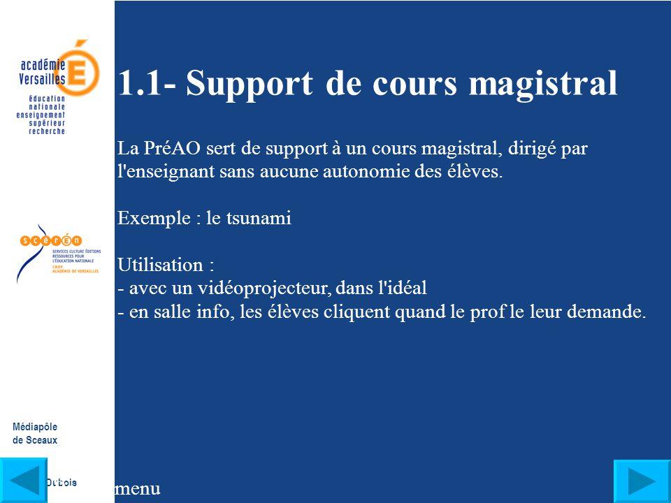 Médiapôle de Sceaux Franck Dubois I- Quelles présentations ? Pour quels usages ? Cliquez sur les liens pour accéder aux pages : 1.1- les présentations