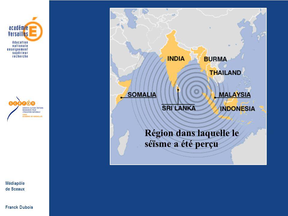 Médiapôle de Sceaux Franck Dubois L'épicentre du tremblement de terre à l'Ouest des côtes du nord de l'île indonésienne de Sumatra