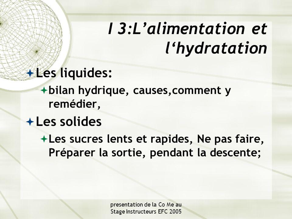 presentation de la Co Me au Stage Instructeurs EFC 2005 I 3:L'alimentation et l'hydratation  Les liquides:  bilan hydrique, causes,comment y remédier,  Les solides  Les sucres lents et rapides, Ne pas faire, Préparer la sortie, pendant la descente;