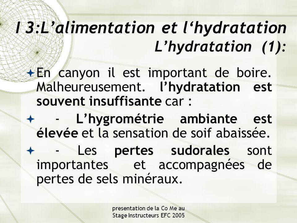 presentation de la Co Me au Stage Instructeurs EFC 2005 I 3:L'alimentation et l'hydratation L'hydratation (1):  En canyon il est important de boire.